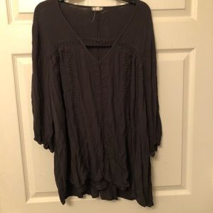 Grey 2X plus size Eyeshadow blouse